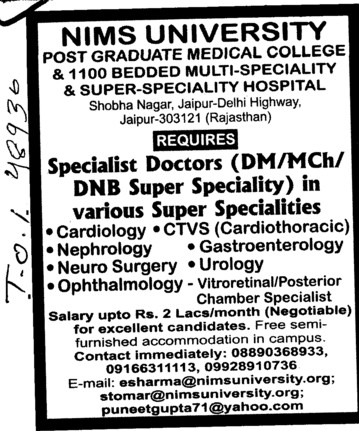 DM, MCh and DNB (NIMS University)