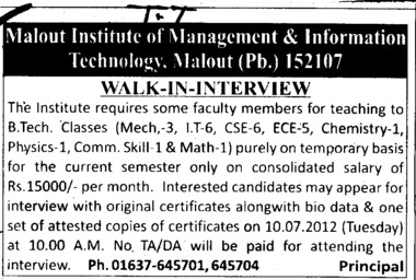 Teaching faculty on temporary basis (Malout Institute of Management and Information Technology MIMIT)