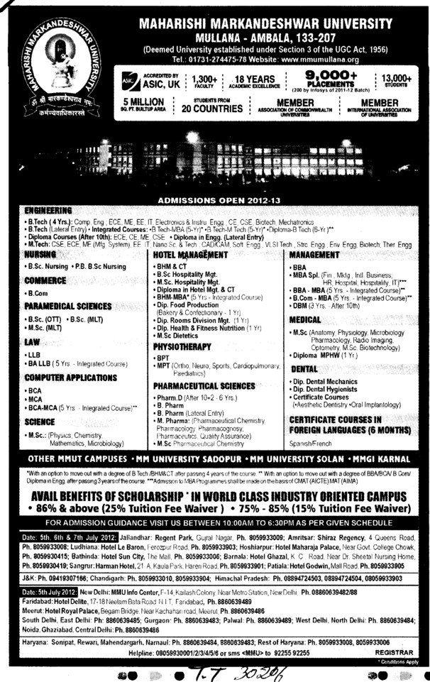 BA, LLB, BCA and MCA Courses etc (Maharishi Markandeshwar University)