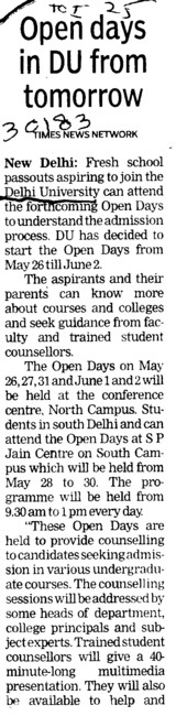 Open days in DU from tomorrow (Delhi University)