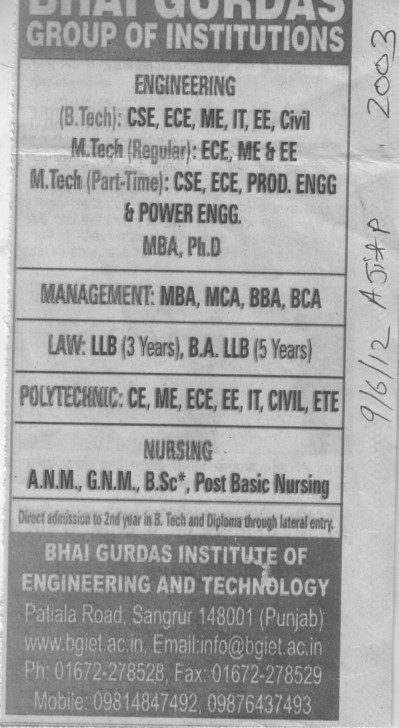 GNM, ANM, MBA and MCA Courses etc (Bhai Gurdas Group of Institutions)