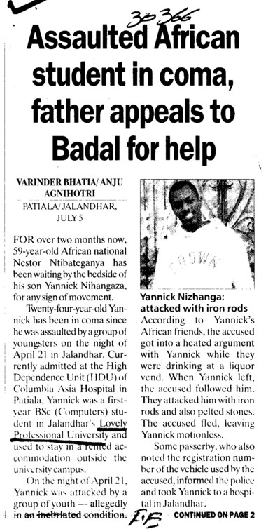 Assaulted African students in coma, father appeals to Badal for help (Lovely Professional University LPU)