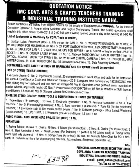 Equipments and Machinery for COPA (Industrial Training Institute (ITI))