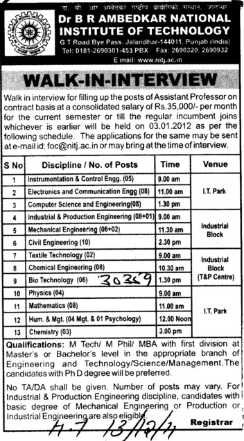 Asstt Professor for BTech (Dr BR Ambedkar National Institute of Technology (NIT))