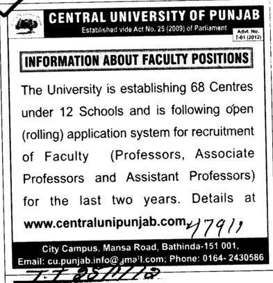 Prof, Asstt Prof and Associate Professor (Central University of Punjab)