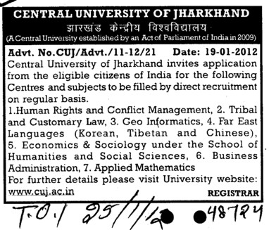 Faculty on adhoc basis (Central University of Jharkhand)