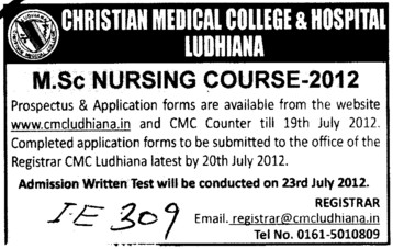 MSc Nursing 2012 (Christian Medical College and Hospital (CMC))