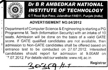 MTech Programmes 2012 (Dr BR Ambedkar National Institute of Technology (NIT))
