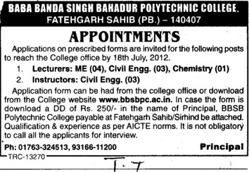 Lecturer and Instructors (Baba Banda Singh Bahadur Polytechnic College)