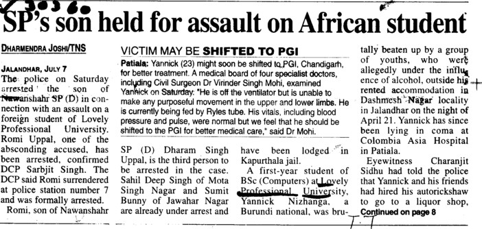 Sps son held for assault on African student (Lovely Professional University LPU)