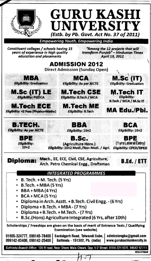 BBA, BCA, Btech, Mtech and PGDCA Courses etc (Guru Kashi University)