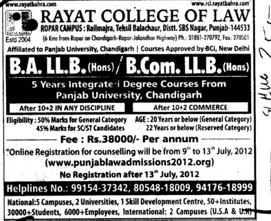 BA LLB and BCom LLB Courses (Rayat College of Law)