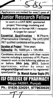 Junior Research Fellow (ISF College of Pharmacy)