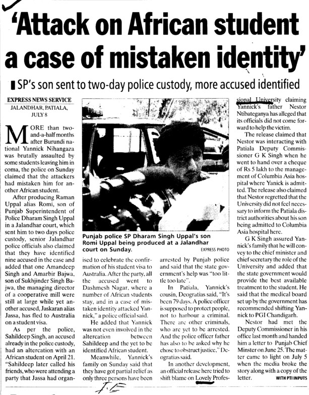 Attack on African student a case of mistaken identity (Lovely Professional University LPU)