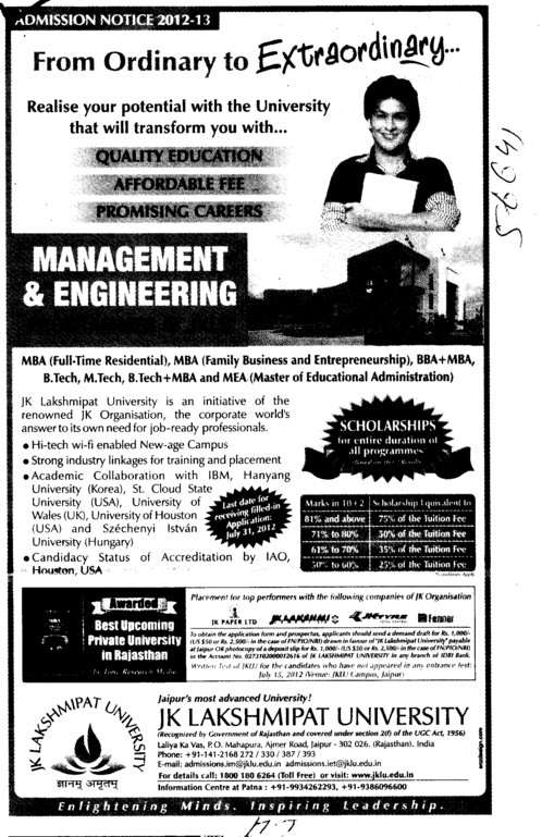 BTech, Mtech and MBA Courses etc (JK Lakshmipat University)
