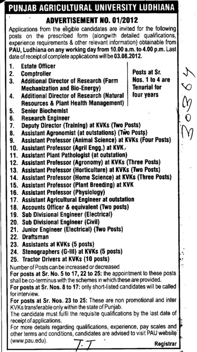 Asstt Professor in various streams, Research Engg, Draftsman and Estate Officer etc (Punjab Agricultural University PAU)
