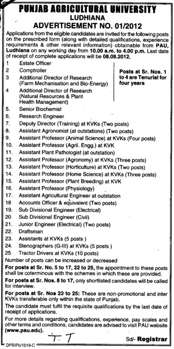 Sub Divisional Engg, Tractor Driver and Comptroller etc (Punjab Agricultural University PAU)