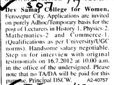 Lecturer in History and Physics (Dev Samaj College for Women)