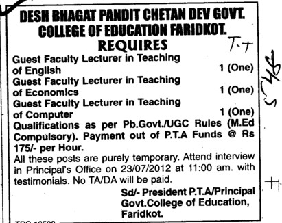 Guest Faculty Lecturer (Pandit Chetan Dev Government College of Education)