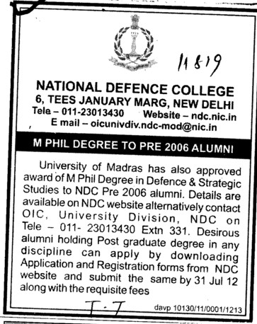 M Phil degree to pre 2006 Alumni (National Defence College)