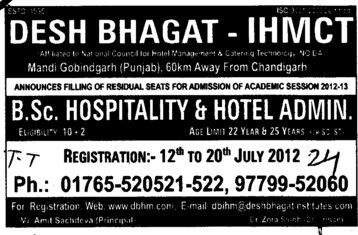 BSc in Hospitality and Hotel Administration etc (Desh Bhagat Institute of Hotel Management and Catering Technology)