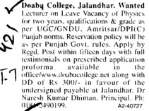 Lecturer on leave vacancy (Doaba College)