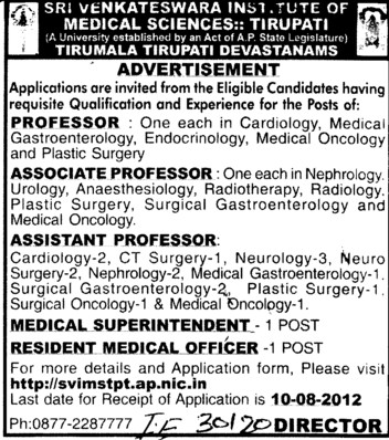 Professor, Asstt Professor and Associate Professor etc (Sri Venkateswara Institute of Medical Sciences (SVIMS))