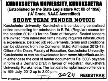 Online Counselling for BEd (Kurukshetra University)