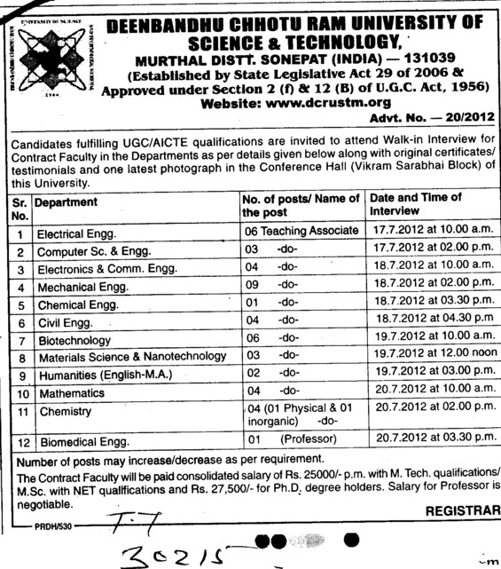 Associate Professor for various departments (Deenbandhu Chhotu Ram University of Science and Technology)