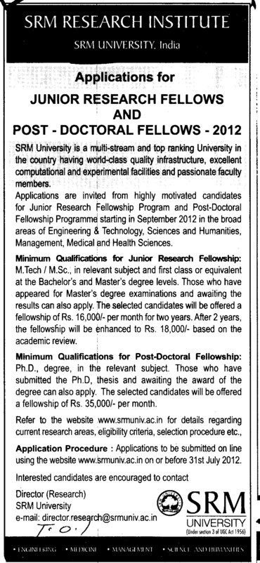 Junior Research Fellow and Post Doctoral Fellows 2012 (SRM University)
