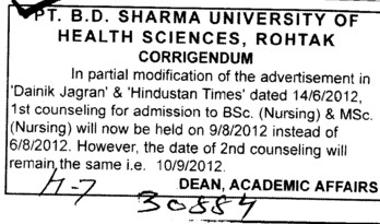BSc and MSc Nursing Courses (Pt BD Sharma University of Health Sciences (BDSUHS))