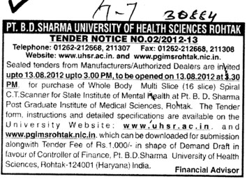 Whole Body Multi Slice Spiral CT Scanner (Pt BD Sharma University of Health Sciences (BDSUHS))
