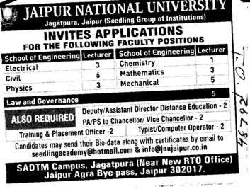 Lecturer for BTech (Jaipur National University)