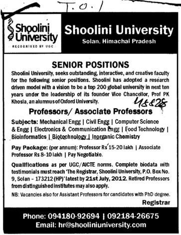 Professor and Associate Professor (Shoolini University)