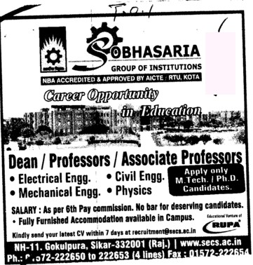 Dean, Professor and Associate Professor (Sobhasaria Group of Institution)