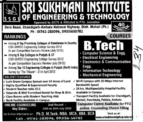 BTech in various streams (Sri Sukhmani Institute of Engineering and Technology)