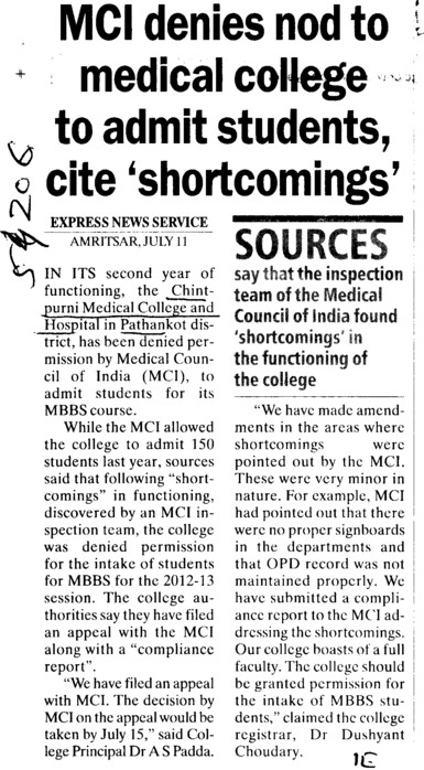 MCI denies nod to medical college to admit students, cite shortcoming (Chintpurni Medical College and Hospital)