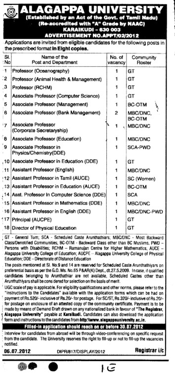 Professor, Asstt Professor and Associate Professor etc (Alagappa University)