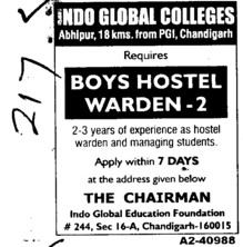 Boys Hostel Warden (Indo Global College of Engineering)