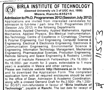 PhD Programme 2012 (Birla Institute of Technology (BIT Mesra))