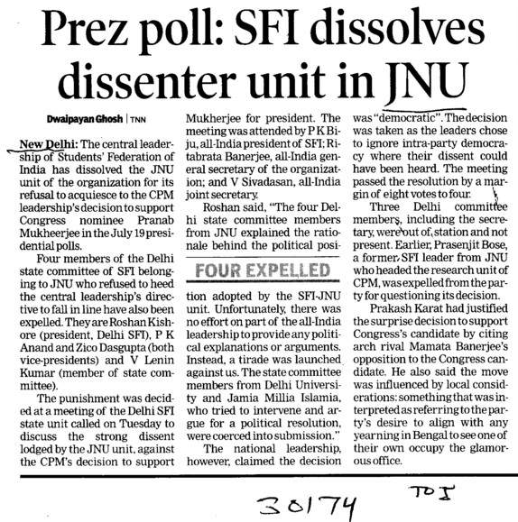 SFI dissolves dissenter unit in JNU (Jawaharlal Nehru University)