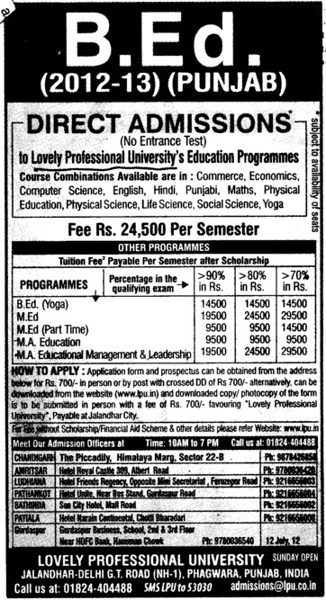 BEd, MEd and MA Courses etc (Lovely Professional University LPU)