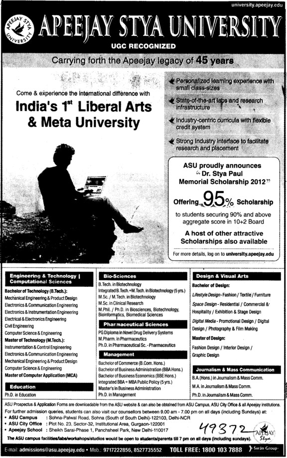 BTech and MTech Courses (Apeejay Stya University)
