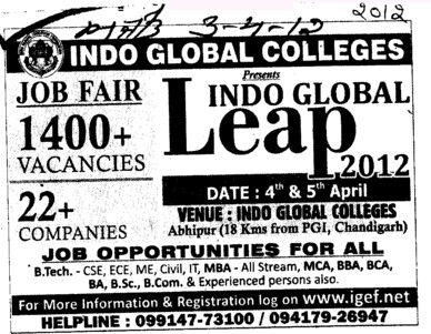 Mega Job Fair 201 (Indo Global Group of Colleges)