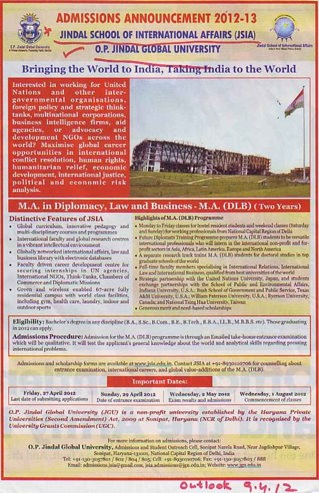 MA in Diplomacy etc (OP Jindal Global University)