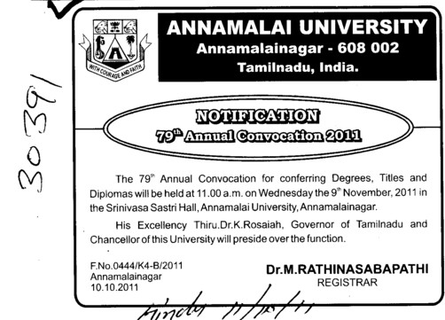 79th Annual Convocation (Annamalai University)