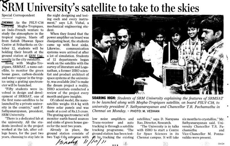 SRM Universitys satellite to take to the skies (SRM University)