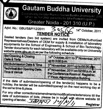 Financial Bid and Technical Bid (Gautam Buddha University (GBU))
