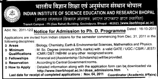 PhD Programme 2012 (Indian Institute of Science Education and Research (IISER))