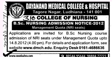 BSc Nursing Course 2012 (Dayanand Medical College and Hospital DMC)